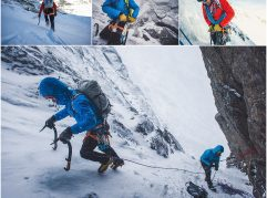 Matty Bowman crampons through some loose snow near the base of Cilley-Barber  on Mt. Katahdin, Maine.