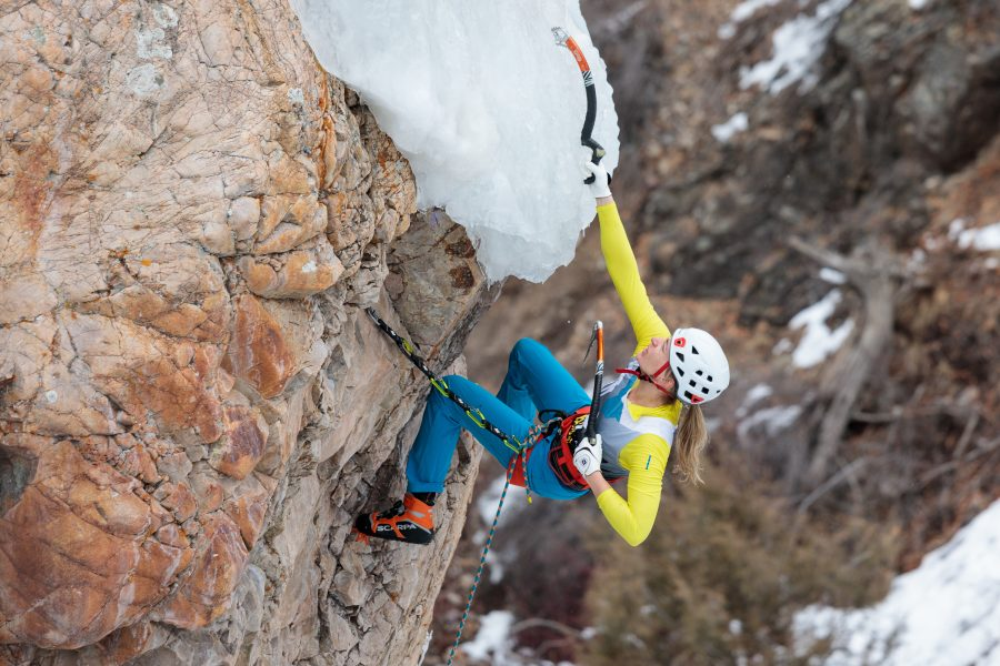 Katie Bono Climbing at the 2018 Ouray Ice Festival Mixed Climbing Competition